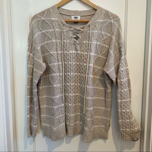 Old Navy Oatmeal Striped Cable Lace Up Sweater